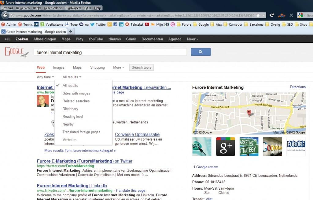 google zoekresultaten advanced